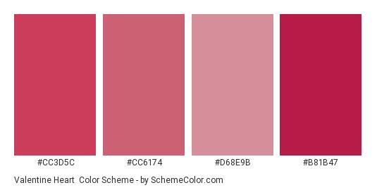 Valentine Heart - Color scheme palette thumbnail - #cc3d5c #cc6174 #d68e9b #b81b47