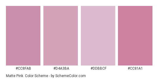 Matte Pink - Color scheme palette thumbnail - #cc8fab #d4a3ba #ddbbcf #cc81a1