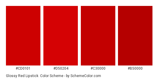 Glossy Red Lipstick - Color scheme palette thumbnail - #cd0101 #d50204 #c30000 #b50000