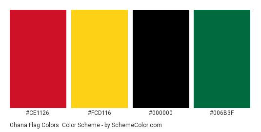 Ghana Flag Colors - Color scheme palette thumbnail - #ce1126 #fcd116 #000000 #006b3f