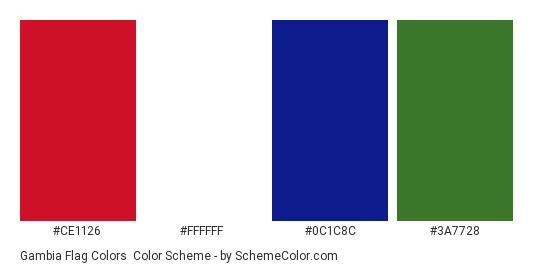 Gambia Flag Colors - Color scheme palette thumbnail - #ce1126 #ffffff #0c1c8c #3a7728