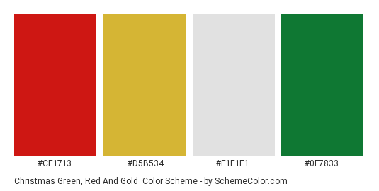 Christmas Green, Red and Gold - Color scheme palette thumbnail - #ce1713 #d5b534 #e1e1e1 #0f7833