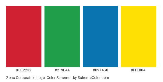 Zoho Corporation Logo - Color scheme palette thumbnail - #ce2232 #219e4a #0974b0 #ffe004