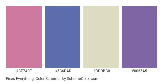 Fixes Everything - Color scheme palette thumbnail - #ce7a9e #5c6dad #dddbc0 #8065a5