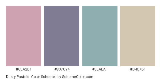 Dusty Pastels - Color scheme palette thumbnail - #cea2b1 #807c94 #8eaeaf #d4c7b1