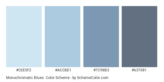 Monochromatic Blues - Color scheme palette thumbnail - #cee5f2 #accbe1  #7c98b3 #637081