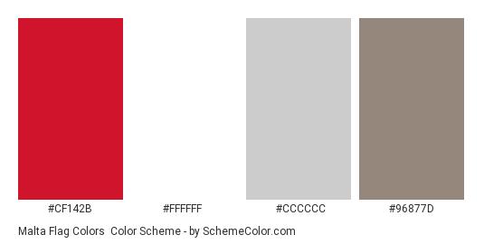 Malta Flag Colors - Color scheme palette thumbnail - #cf142b #ffffff #cccccc #96877d