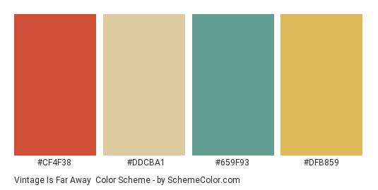 Vintage is Far Away - Color scheme palette thumbnail - #cf4f38 #ddcba1 #659f93 #dfb859
