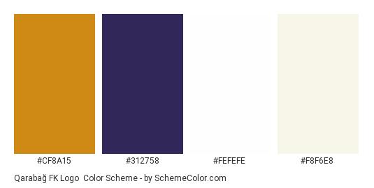 Qarabağ FK Logo - Color scheme palette thumbnail - #cf8a15 #312758 #fefefe #f8f6e8