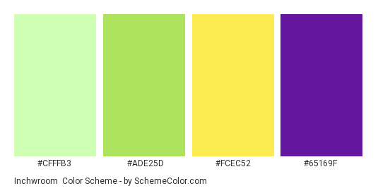 Inchwroom - Color scheme palette thumbnail - #cfffb3 #ade25d #FCEC52 #65169F