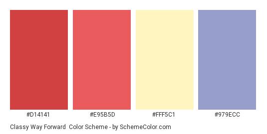 Classy Way Forward - Color scheme palette thumbnail - #d14141 #e95b5d #fff5c1 #979ecc