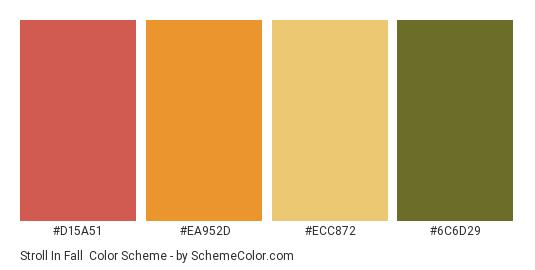 Stroll in Fall - Color scheme palette thumbnail - #d15a51 #ea952d #ecc872 #6c6d29