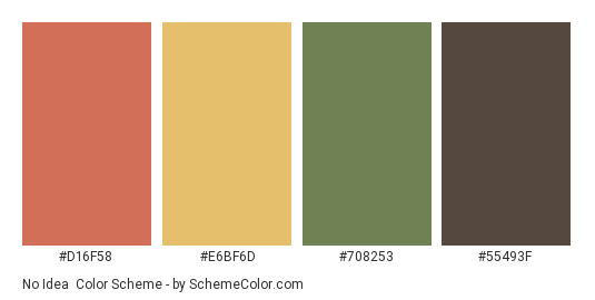 No Idea - Color scheme palette thumbnail - #d16f58 #e6bf6d #708253 #55493f
