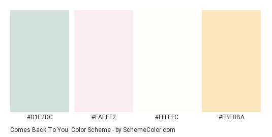 Comes Back to You - Color scheme palette thumbnail - #d1e2dc #faeef2 #fffefc #fbe8ba