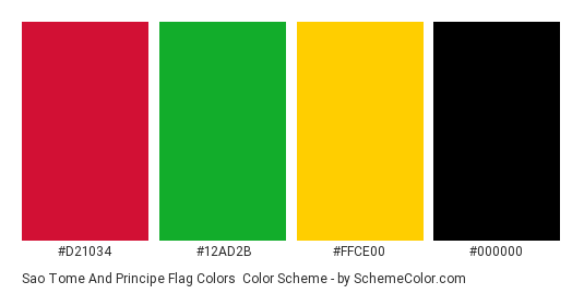 Sao Tome and Principe Flag Colors - Color scheme palette thumbnail - #d21034 #12ad2b #ffce00 #000000