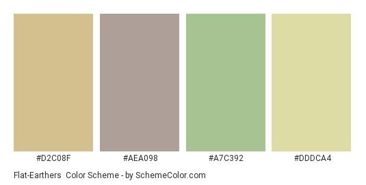 Flat-Earthers - Color scheme palette thumbnail - #d2c08f #aea098 #a7c392 #dddca4