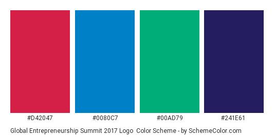 Global Entrepreneurship Summit 2017 Logo - Color scheme palette thumbnail - #d42047 #0080c7 #00ad79 #241e61
