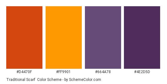 Traditional Scarf - Color scheme palette thumbnail - #d4470f #ff9901 #664a78 #4e2d5d