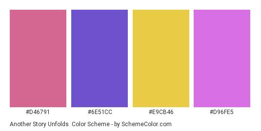 Another Story Unfolds - Color scheme palette thumbnail - #d46791 #6e51cc #e9cb46 #d96fe5