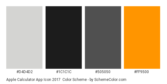 Apple Calculator App Icon 2017 - Color scheme palette thumbnail - #d4d4d2 #1c1c1c #505050 #ff9500