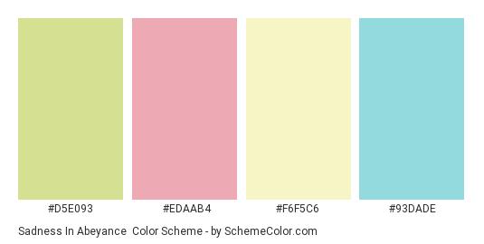 Sadness in Abeyance - Color scheme palette thumbnail - #d5e093 #edaab4 #f6f5c6 #93dade