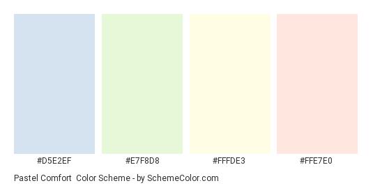 Pastel Comfort - Color scheme palette thumbnail - #d5e2ef #e7f8d8 #fffde3 #ffe7e0