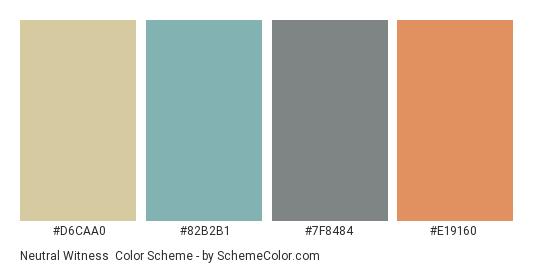 Neutral Witness - Color scheme palette thumbnail - #d6caa0 #82b2b1 #7f8484 #e19160