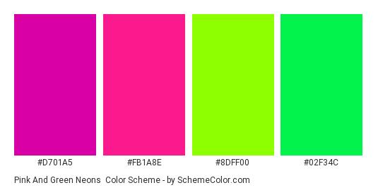 Pink and Green Neons - Color scheme palette thumbnail - #d701a5 #fb1a8e #8dff00 #02f34c