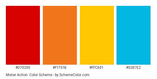 Mister Action - Color scheme palette thumbnail - #d70200 #f1751b #ffc601 #02b7e2