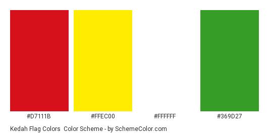 Kedah Flag Colors - Color scheme palette thumbnail - #d7111b #ffec00 #ffffff #369d27