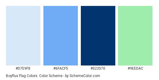 Boyflux Flag Colors - Color scheme palette thumbnail - #d7e9f8 #6facf5 #023570 #9eedac