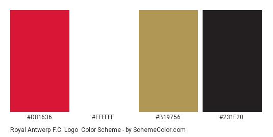 Royal Antwerp F.C. Logo - Color scheme palette thumbnail - #d81636 #ffffff #b19756 #231f20
