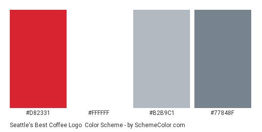 Seattle's Best Coffee Logo - Color scheme palette thumbnail - #d82331 #ffffff #b2b9c1 #77848f