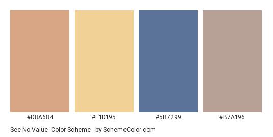 See No Value - Color scheme palette thumbnail - #d8a684 #f1d195 #5b7299 #b7a196