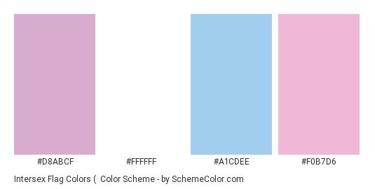 Intersex Flag Colors (#2) - Color scheme palette thumbnail - #d8abcf #ffffff #a1cdee #f0b7d6