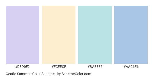 Gentle Summer - Color scheme palette thumbnail - #d8d0f2 #fceecf #BAE3E6 #AAC6E6