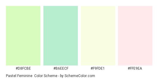 Pastel Feminine - Color scheme palette thumbnail - #d8fcbe #b6eecf #f9fde1 #ffe9ea