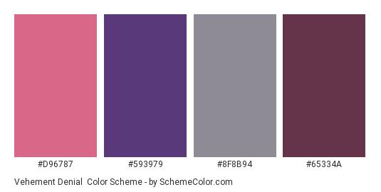Vehement Denial - Color scheme palette thumbnail - #d96787 #593979 #8f8b94 #65334a