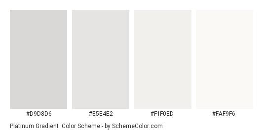 Platinum Gradient - Color scheme palette thumbnail - #d9d8d6 #e5e4e2 #f1f0ed #faf9f6