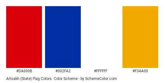 Artsakh (State) Flag Colors - Color scheme palette thumbnail - #da000b #002fa2 #ffffff #f3aa00