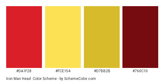Iron Man Head - Color scheme palette thumbnail - #da1f28 #fce154 #d7bb2b #760c10
