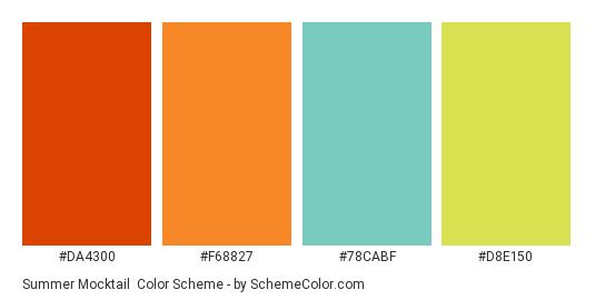 Summer Mocktail - Color scheme palette thumbnail - #da4300 #f68827 #78cabf #d8e150