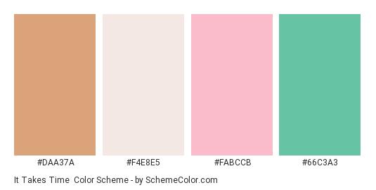 It Takes Time - Color scheme palette thumbnail - #daa37a #f4e8e5 #fabccb #66c3a3