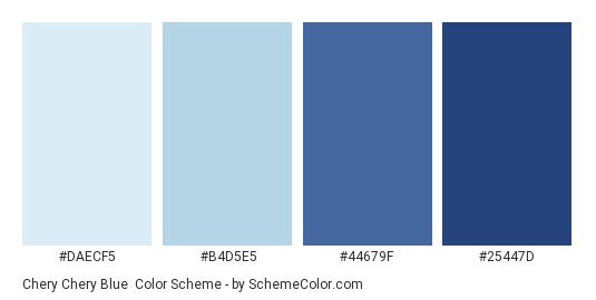 Chery Chery Blue - Color scheme palette thumbnail - #daecf5 #b4d5e5 #44679f #25447d