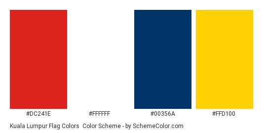 Kuala Lumpur Flag Colors - Color scheme palette thumbnail - #dc241e #ffffff #00356a #ffd100