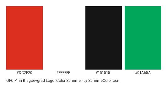 OFC Pirin Blagoevgrad Logo - Color scheme palette thumbnail - #dc2f20 #ffffff #151515 #01a65a