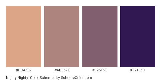 Nighty-Nighty - Color scheme palette thumbnail - #dca587 #ad857e #825f6e #321853