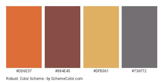 Robust - Color scheme palette thumbnail - #dd6e37 #884e45 #dfb061 #736f72