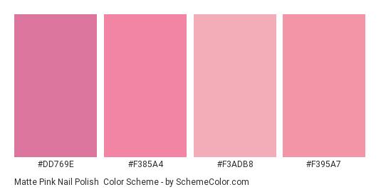 Matte Pink Nail Polish - Color scheme palette thumbnail - #dd769e #f385a4 #f3adb8 #f395a7