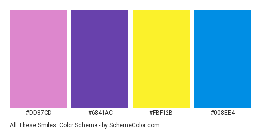 All These Smiles - Color scheme palette thumbnail - #dd87cd #6841ac #fbf12b #008ee4